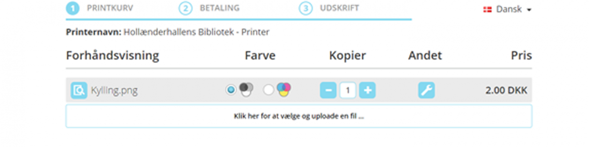 Skærmprint, der viser dokument i printkurv og pris for udskrift